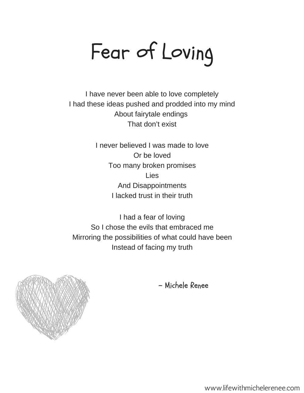 Poetry Corner by Michele Renee-Fear of Loving Poem