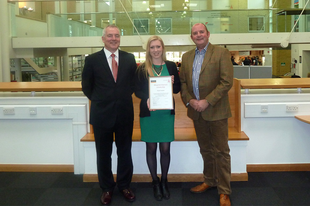 In 2013 the Blueprint Scholarship was changed to be awarded to the top final year student seeing Paula Yeadon win the award for the second time.
