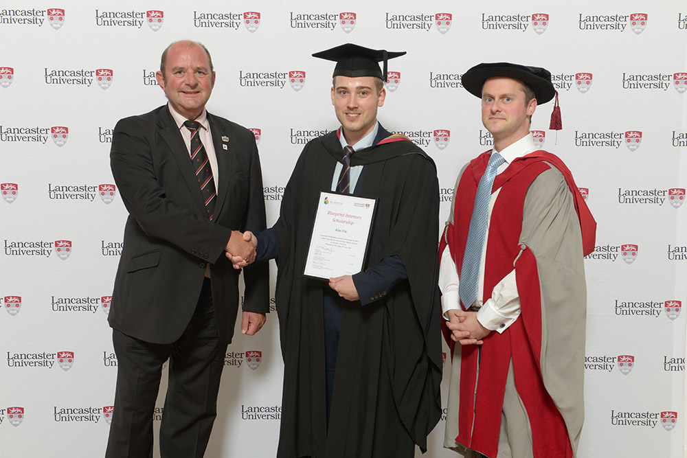 2016 Blueprint Scholarship Winner - Alex File pictured with Rob and Dr Ben Kerrane, Senior Lecturer in Marketing. Alex will be starting his Masters in MSc International Innovation (Design) at Lancaster   in September.