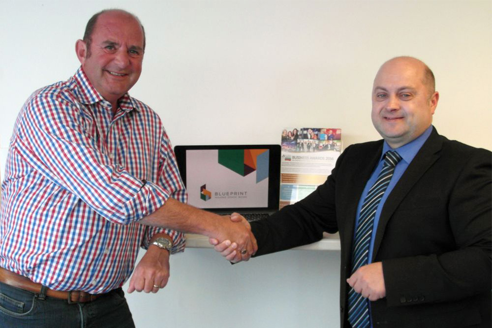 Blueprint Interiors Managing Director Rob Day (Left) with East Midlands Chamber CEO Scott Knowles (Right)