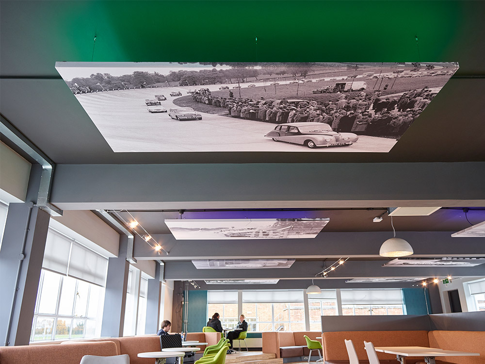Pictured above: MIRA Technology Park Social Hub where we incorporated several heritage photographs of the site into our design.