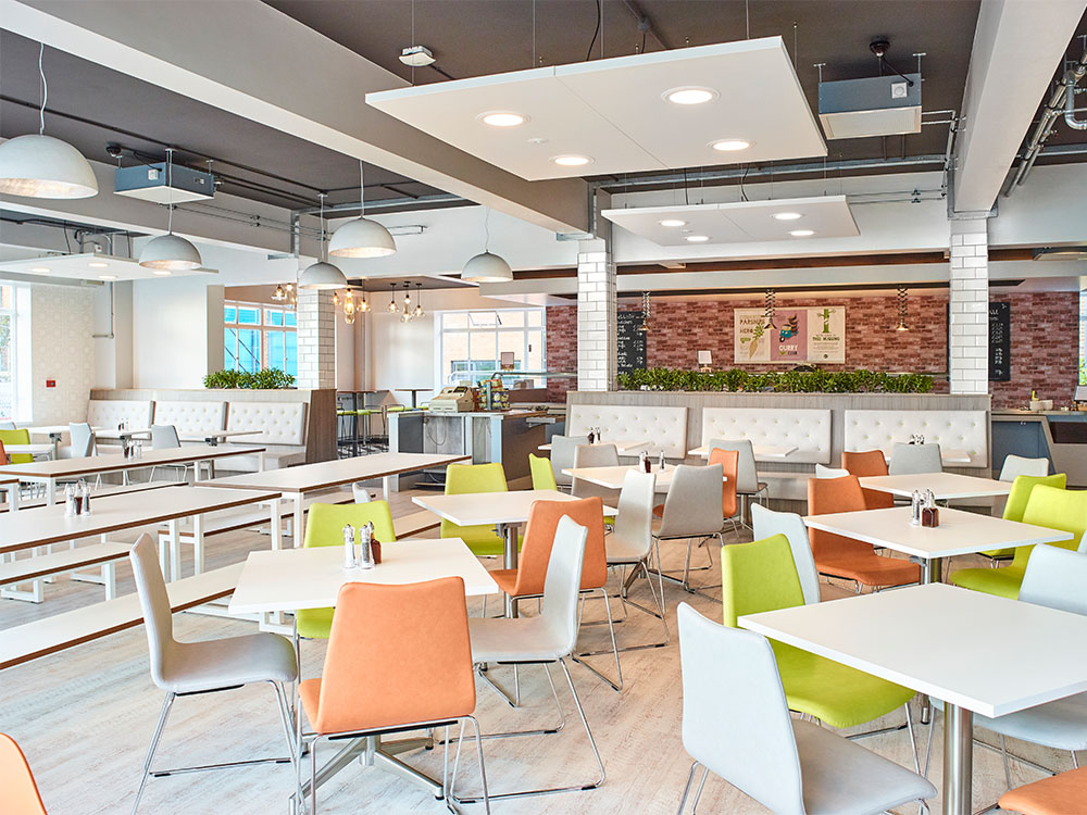 "Pictured Above: MIRA Technology Park's canteen which we refurbished into their brand new ""Food Hub"""