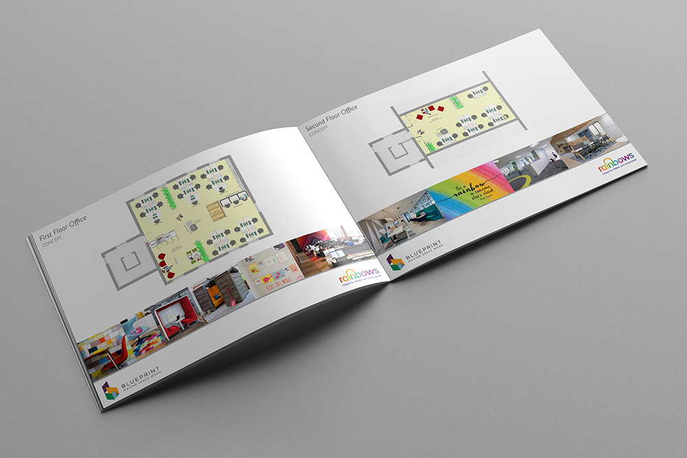 The design concept we put together for the first and second-floor offices of Rainbows Children's Hospice.