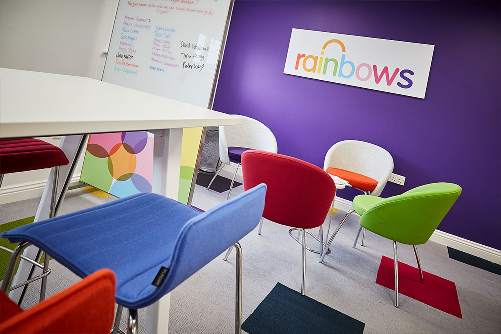 The recently refurbished offices of Rainbows Children's Hospice - First Floor - Kitchen break out area.