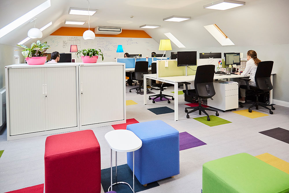 The recently refurbished second-floor offices of Rainbows Children's Hospice.