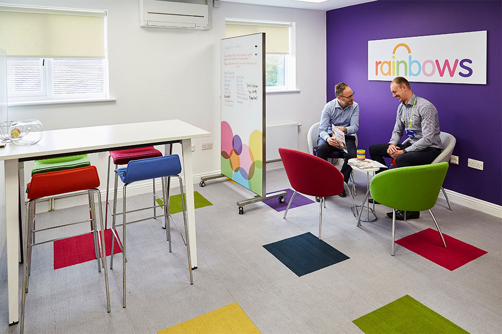 An example of a colourful break out space from our work at Rainbows