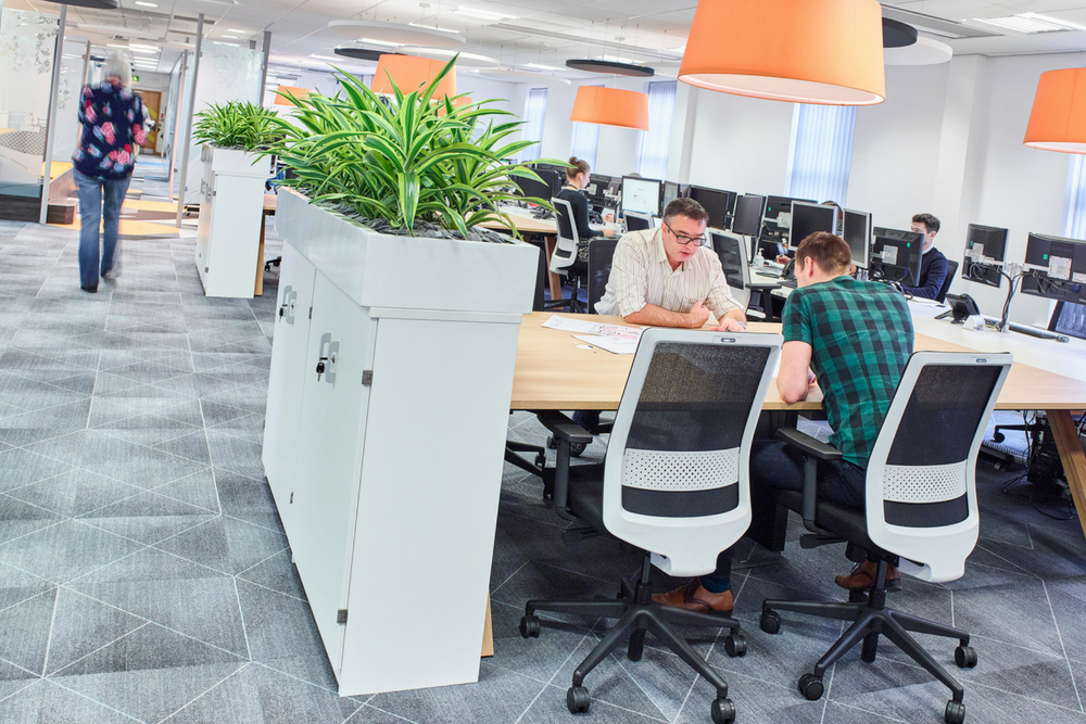 An example from our project at  rg+p  of flexible desk space adjacent to computer desks, providing a range of workspace options for staff.