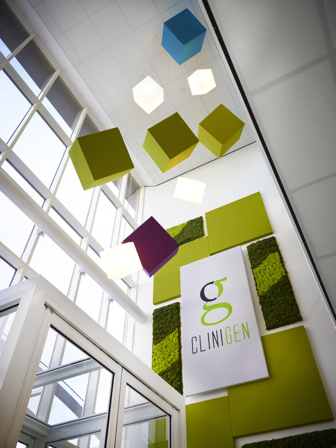 An example of moss walls, acoustic panels, lighting and branding used at  Clinigen Global headquarters .