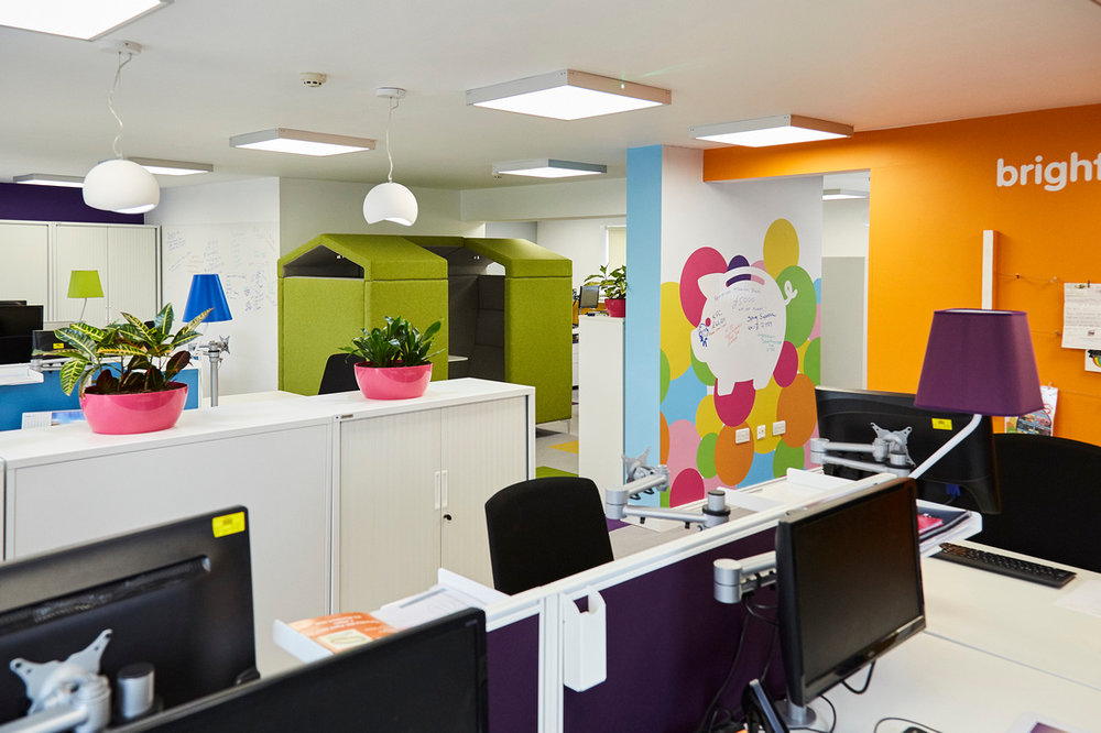 Rainbows: The new open plan space incorporating a range of flexible, open and private workspaces.