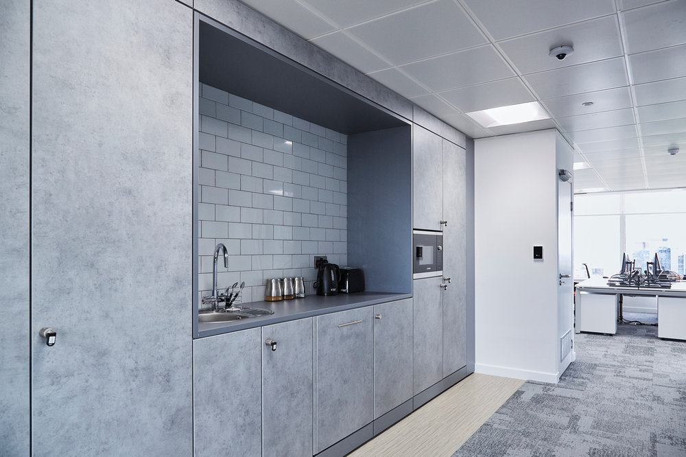 We made clever use of a small space to provide a fully-fitted kitchen area at  CoStar Group's Birmingham offices .