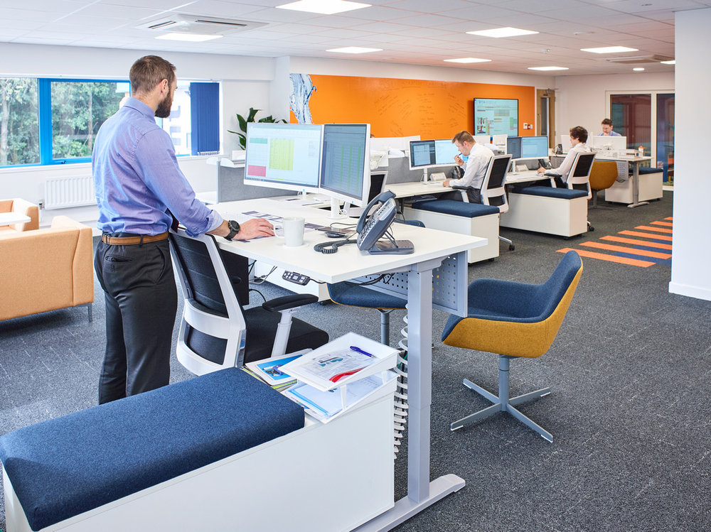We incorporated stand up desks into  ProMinent 's newly designed office.