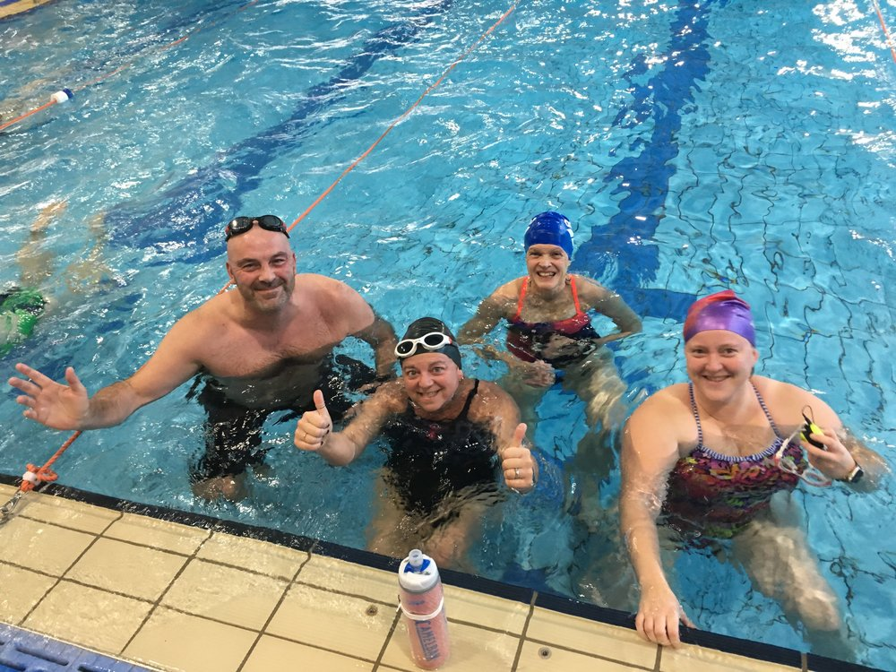 Lane 3 shallow end group led brilliantly throughout by Suzanne (white goggles) on RM4 (60 sec) and RM5 (61sec).