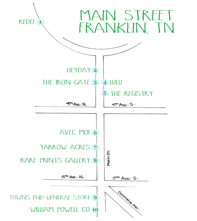 Franklin Tennessee Main Street Home Stores Shopping Map