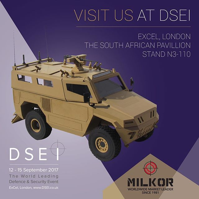 Visit #Milkor stand N3-110 (South African Pavilion) at #dsei2017 See our #grenadelaunchers and #Milkor4x4 #armouredvehicle Inquiries: dsei@milkor.com