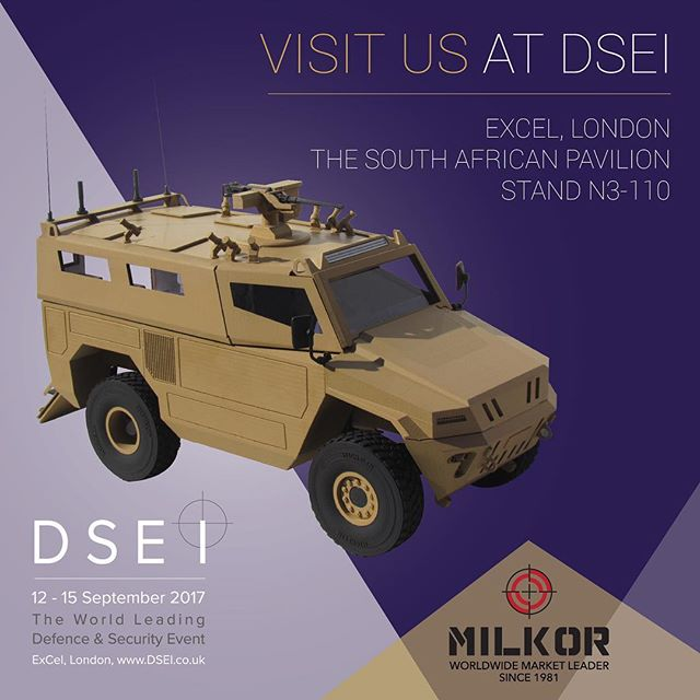 Visit #Milkor stand N3-110 (South African Pavilion) at #dsei2017 #grenadelaunchers #mgl #Milkor4x4 #armouredvehicles Inquiries: info@milkor.com @amd_officialpage