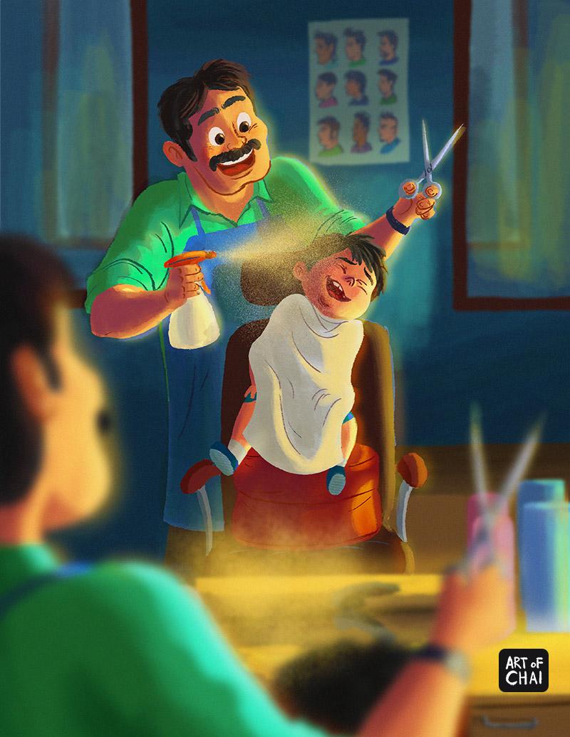 Kid's haircut and hairspray