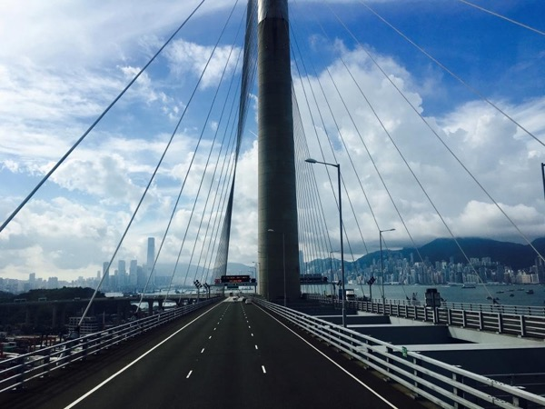 The magnificent view crossing the amazing Stone Cutter Bridge, the second longest cable stayed bridge in the world.