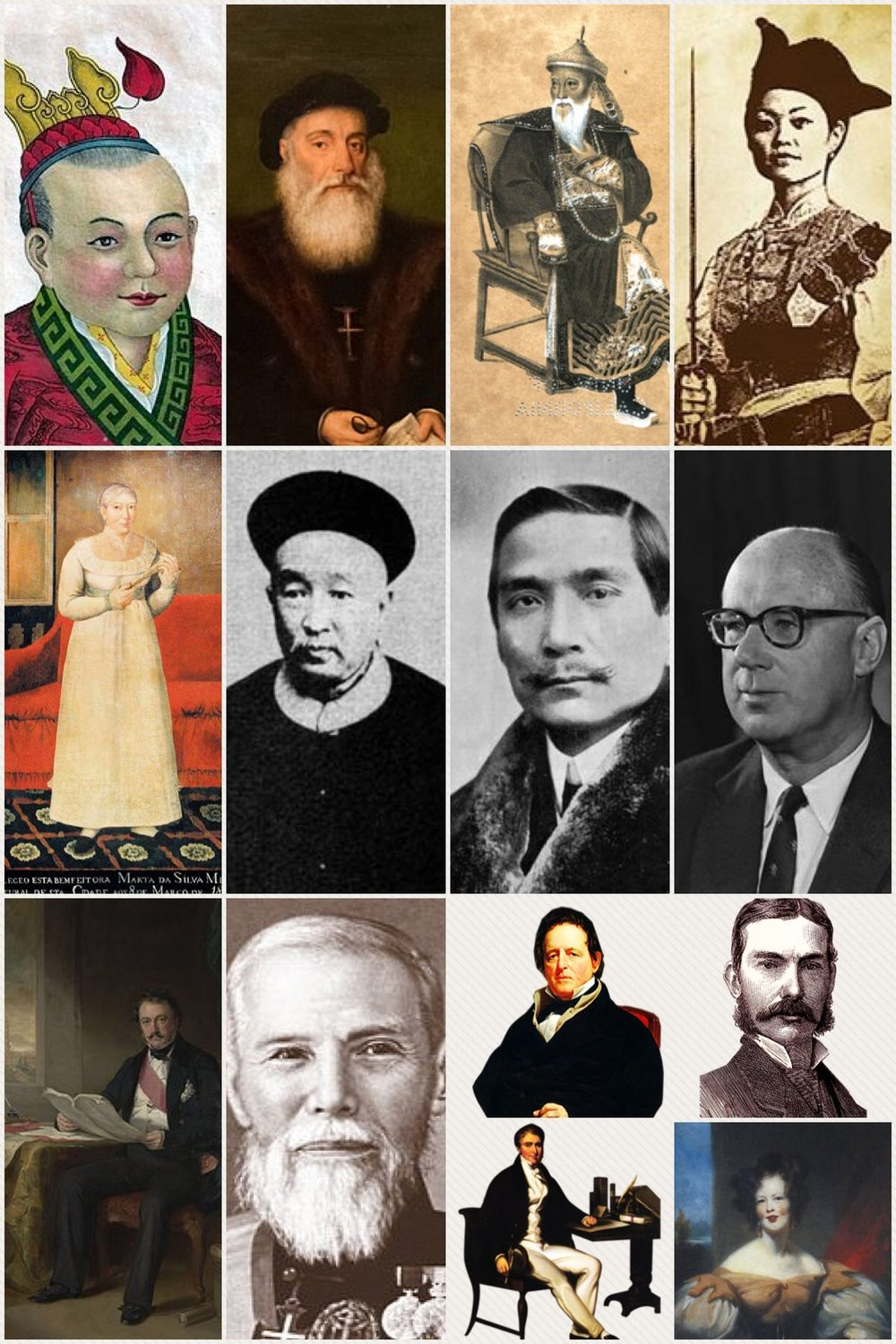 Just a few of the notable personalities I regularly introduce on tour: (1st Row) Song Emperor Zhao Bing (the boy emperor), Vasco Da Gama (the explorer), Commissioner Lin Zexu (the Emperor's mandarin), Madam Zheng Shih (the Pirate Queen) (2d Row) Martha Cuijk van Mierop (from orphan to benefactress), Zheng Guanying (the compradore scholar of Macau), Sun Yat Sen (the founding father of modern China), Sir John James Cowperthwaite (the architect of prosperity); (3d Row) Henry Pottinger (the Governor), Sir Robert Ho Tung (the Grand Old Man of Hong Kong), Warren Delano (an American trader), Charles Elliot (a much misunderstood figure), William Jardine (the Taipan), Harriet Low (an American in old Macau). There are of course many others...