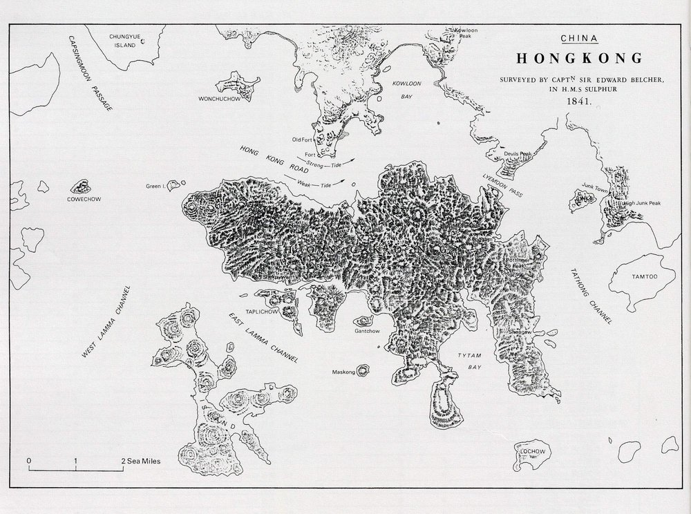 Captain Belcher's map from the first detailed survey of the waters surrounding Hong  Kong Island.