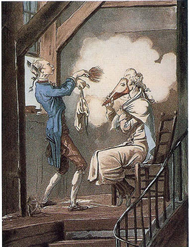 A gentleman being powdered by his valet with a cone to protect his face during the process in 'The Toilette of the State Prosecutor's Clerk', c. 1768 by Carle Vernet.