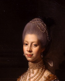 An interesting hair shape with a beautiful shade of pink powder being used to tint the hair of: Queen Charlotte of England, portrait by Nathaniel Dance-Holland, 1769