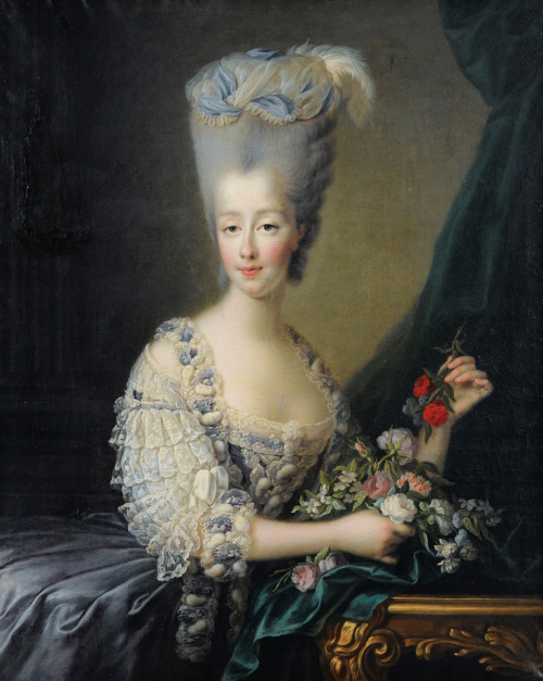 Grey hair was extremely popular at the time, it could be achieved through grey false hair or probably more commonly through hair powder. Portrait of Madame la Comtesse d'Artois