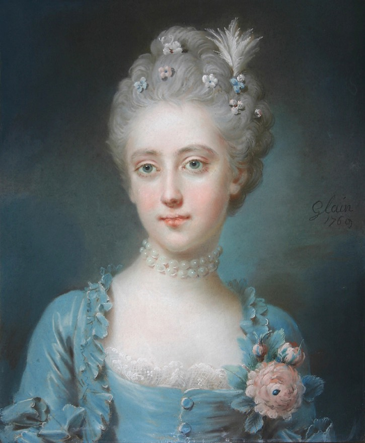 Small, possibly artificial flowers are being used to decorate her hair in a portrait of: Viscountess Grimston, née Harriot Walter by Leon Pascal Glain (1769)