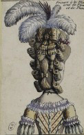 A typical decoration of feathers are being used in this French fashion plate, 1778 (Collection Maciet)