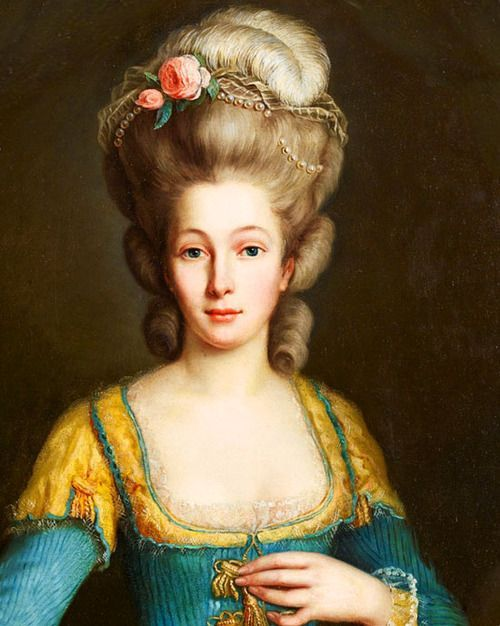 Maybe you just want to try all the decorations out! Flowers, feathers and pearls are used in this portrait of an unknown lady circa 1760-1780s; Swedish school