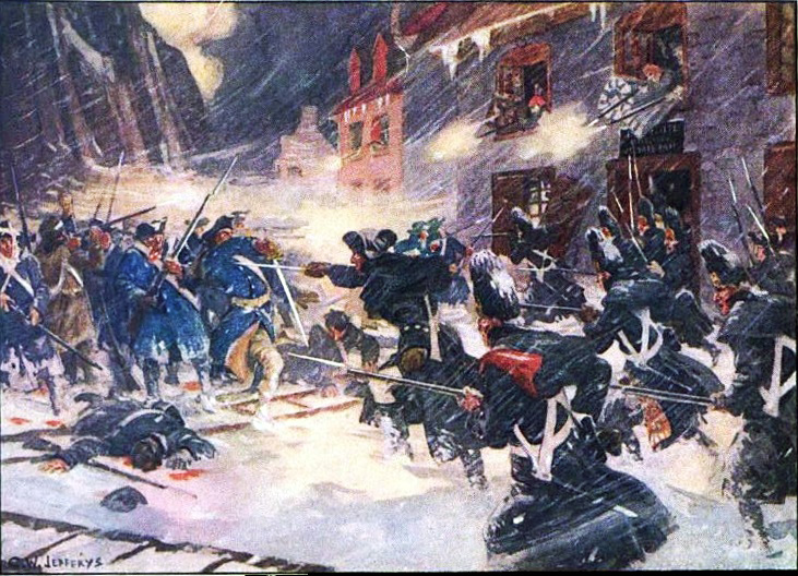 Arnold's column is shattered in fierce street fighting during the Battle of Quebec.  By Charles William Jefferys - 1916