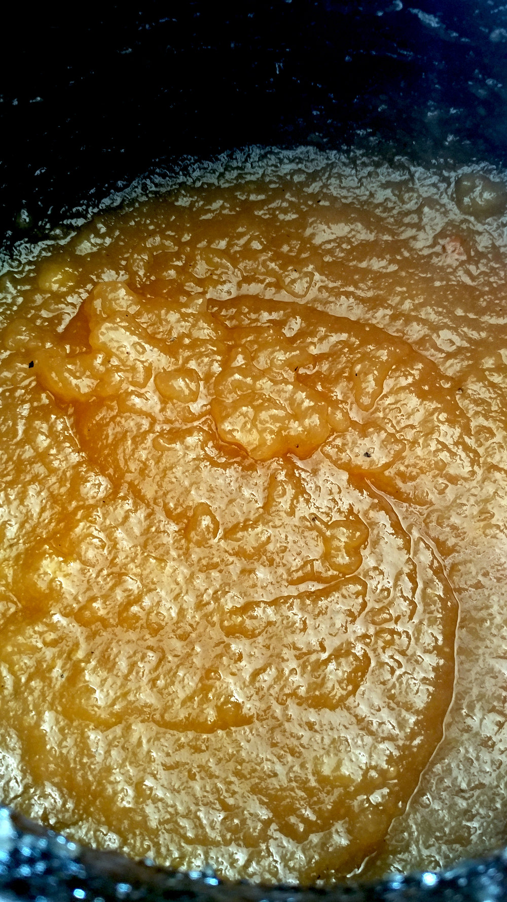 Reduced quince paste, ready to be placed in a container and set into traditional marmalade. As you can see, it is extremely firm and ready to set.