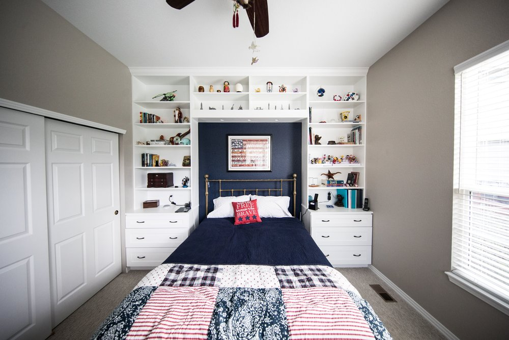 3. Open Shelving - Proper storage is key to living happily in a small space. Open shelving makes it easy to find everyday items and showcase souvenirs and collectibles. Avoid clutter and allow ornaments to breathe. When staging open shelves, less is more.