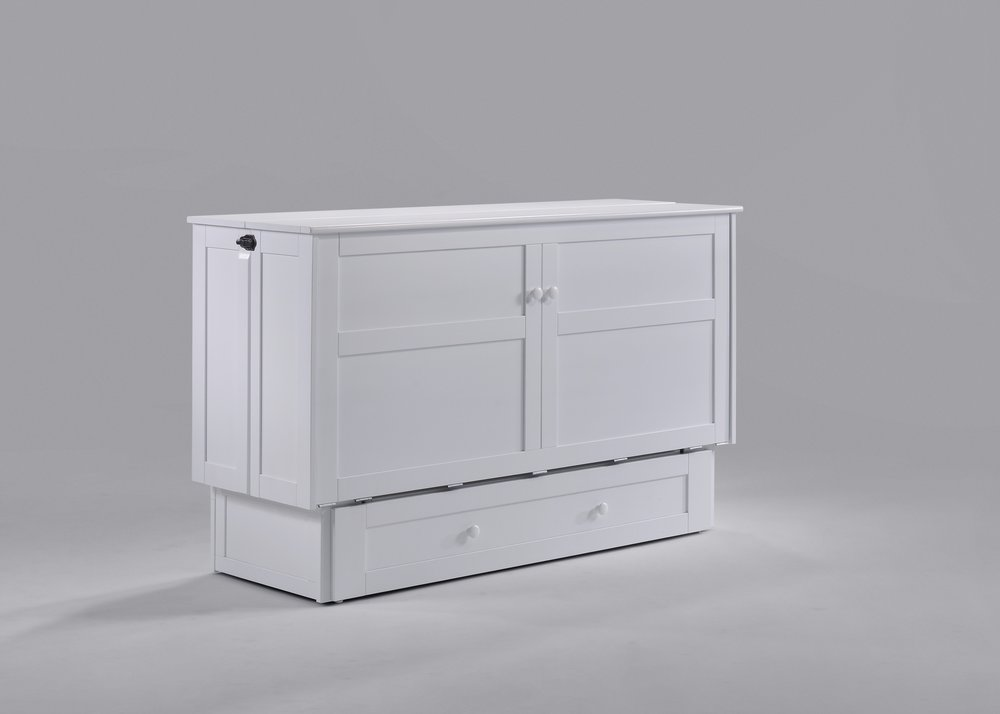 6. Murphy Cabinet Beds - Wall Beds are the ultimate space savers. However, they are quite a commitment both in price and installation. If you wish to use a bedroom as a home office or crafting room but still need a place to sleep, consider a Murphy Cabinet Bed.Murphy Cabinet Beds have the advantage of not requiring installation, this is a huge plus if you are renting. Needing only 10 square feet of floor space they will leave you plenty of room for a desk or craft table. Manufactured from cool gel memory foam the Queen size mattress is suitable for guests and full time sleeping.