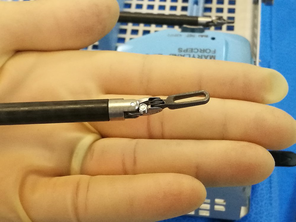 A needle driver used in robotic surgery