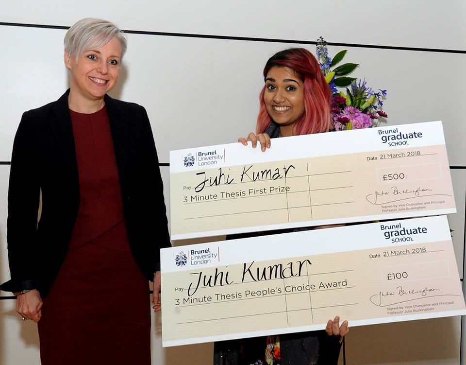 Dr Juhi Kumar and her prize for the best 3 minute video explaining her PhD