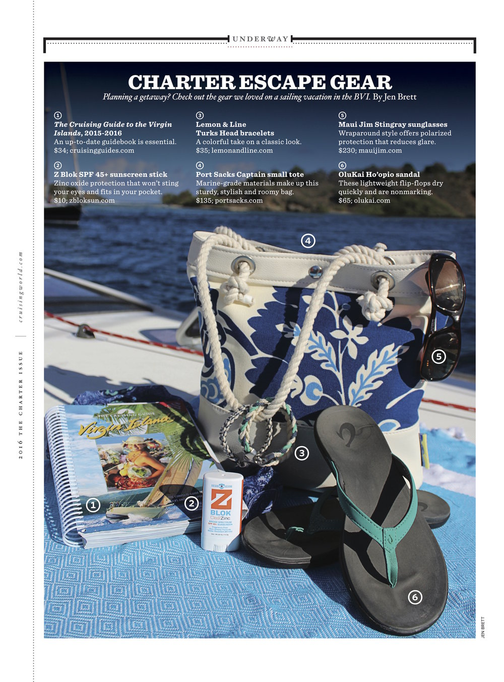 "Cruising World Magazine featured our ""Bluesin' for a Cruise"" Captain's (small) sack in their 2016 Charter issue."