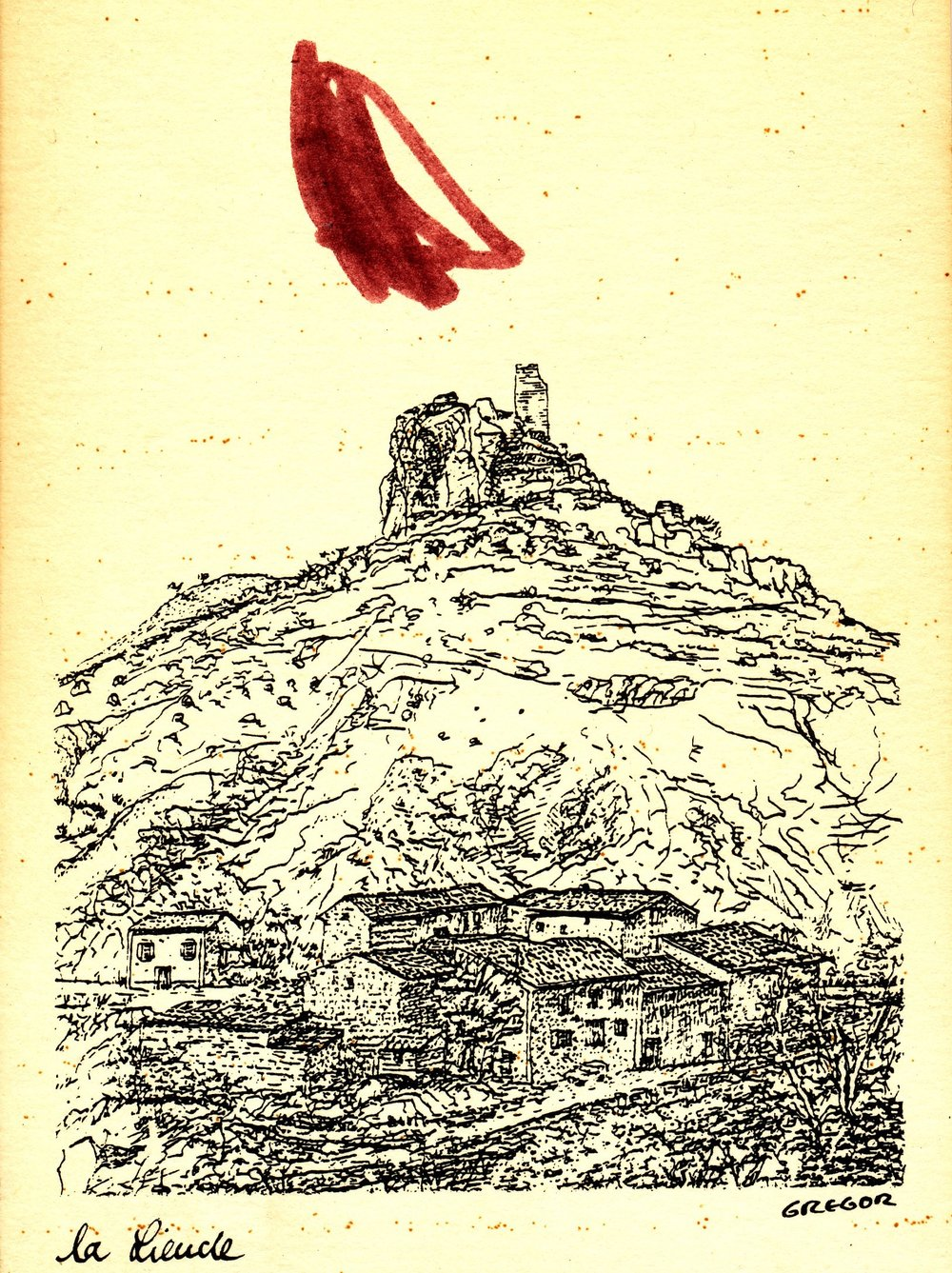 Collaborative Drawing 3 (Eliza on postcard), 1999
