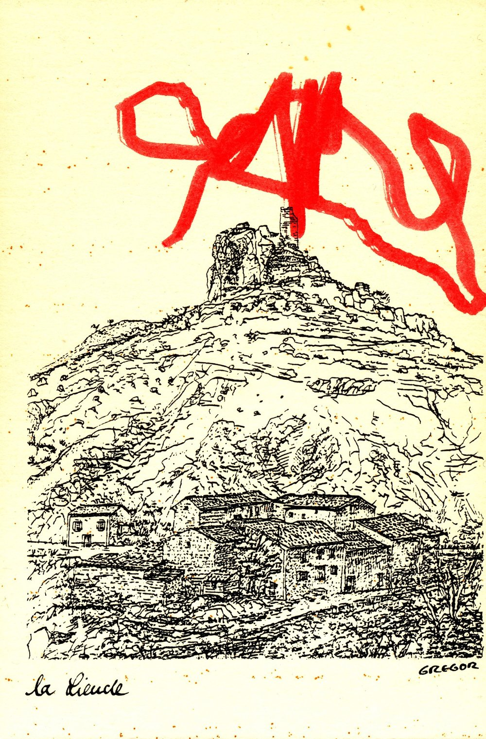 Collaborative Drawing 1 (Eliza on postcard), 1999