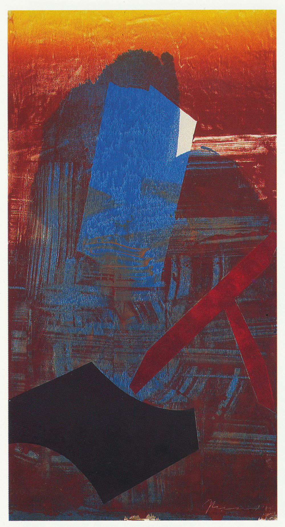 101) 'Blank Thought, Blood Remembering' IX, 1989 Monotype 185x99cm.jpeg