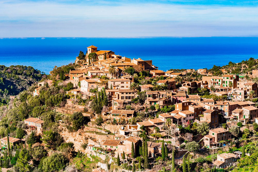 View of the old Mediterranean mountain village Deia