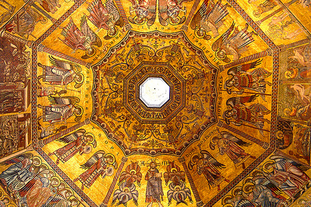 medieval mosaic ceiling at The Florence Baptistery