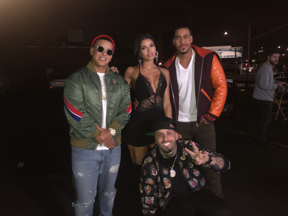 Daddy Yankee, Yovanna Ventura, Romeo and Nicky Jam on set of Bella y Sensual music video shot in New York City