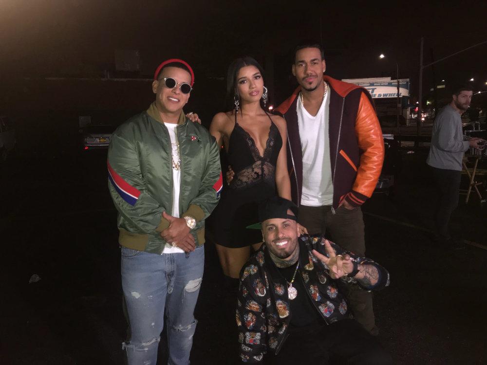 Daddy Yankee, Yovanna Ventura, Romeo and Nicky Jam on set of Bella y Sensual music video shot in New York City