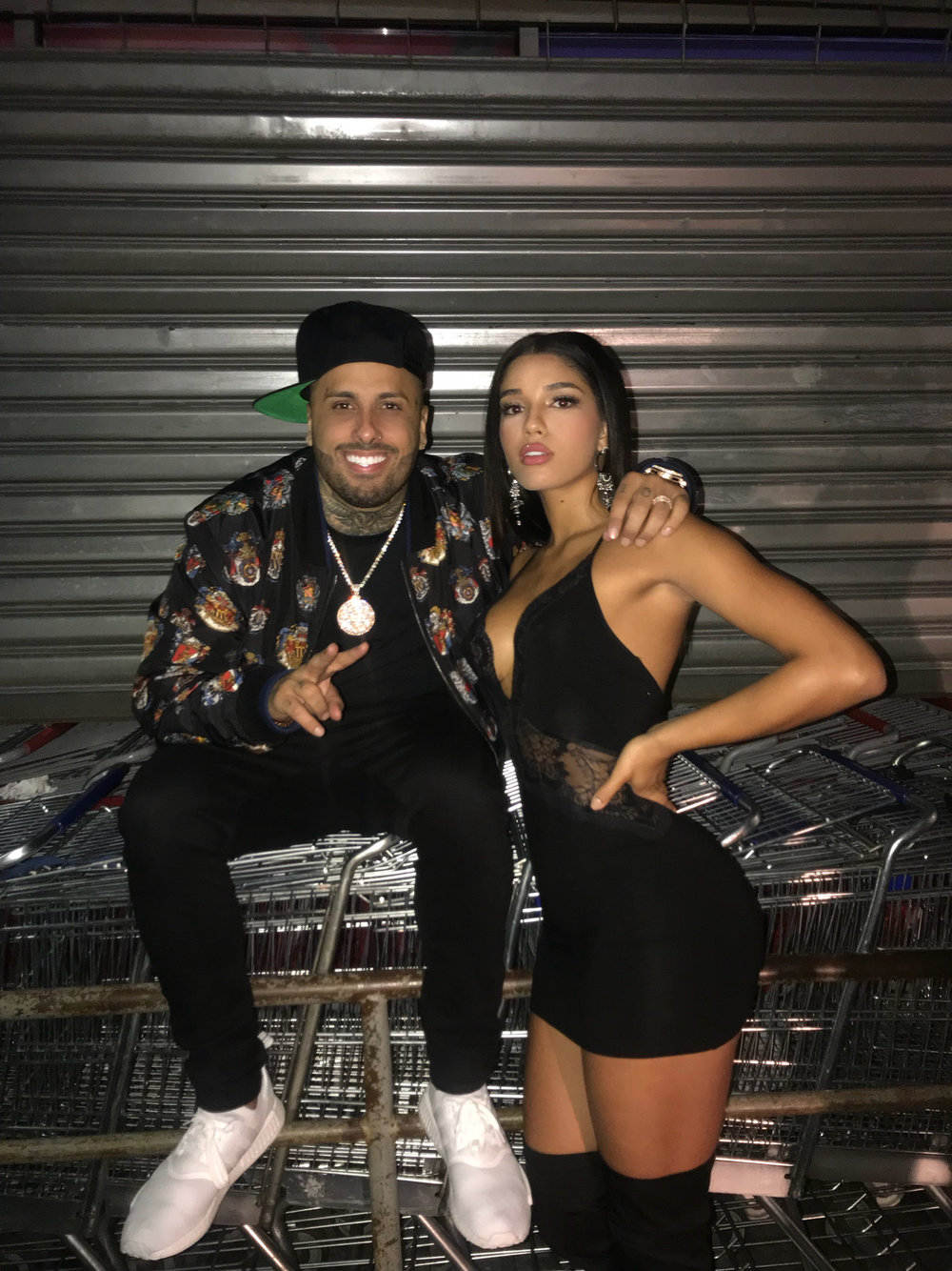 Yovanna Ventura and Nicky Jam on set of Bella y Sensual music video shot in New York City