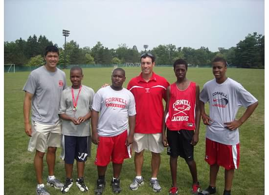 Boiardi Foundation sponsored campers at Cornell's Big Red camp, with Coach Jeff Tambroni
