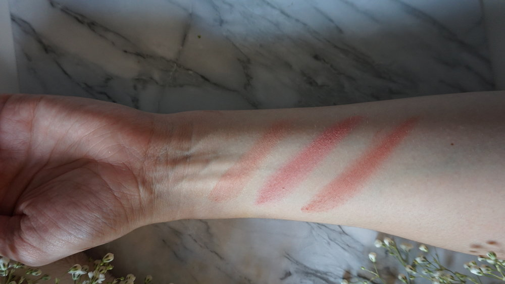 Swatches of the Pixi + Chloe Morello Blushes