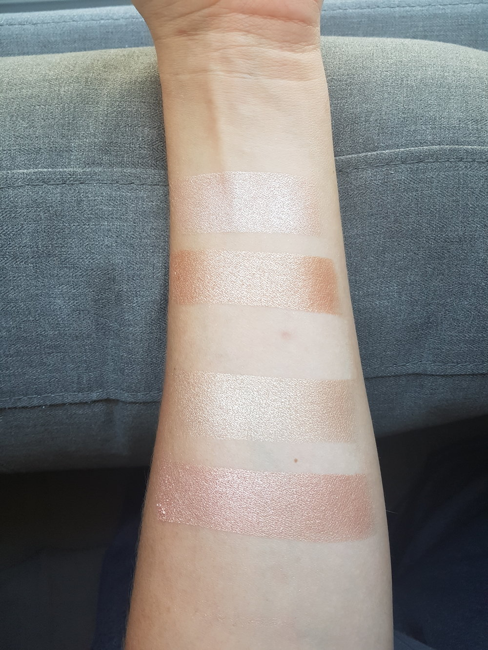Top Two shades are from the Delicate Dew Palette  Bottom Two shades are from the Subtle Sunrise palette