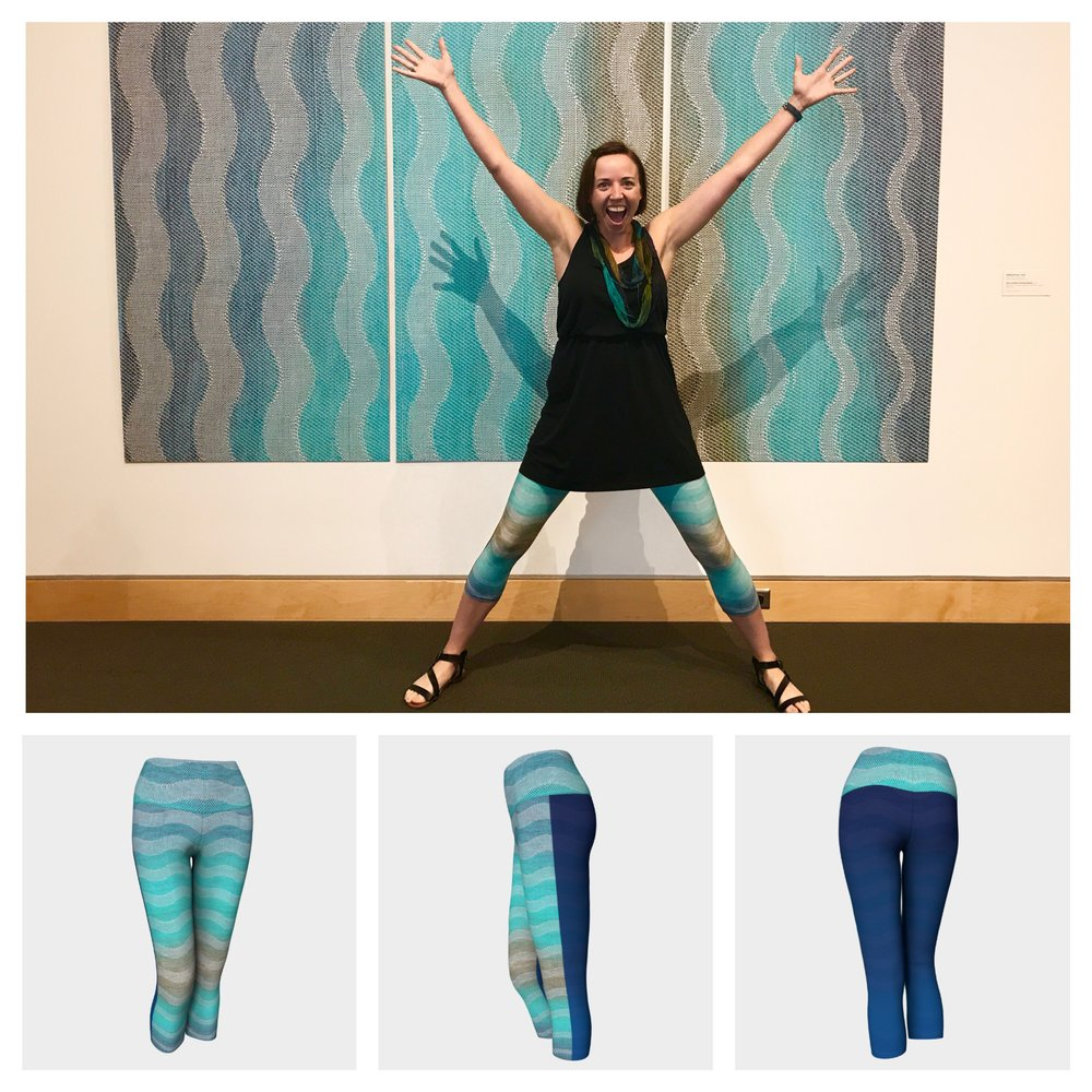 """Friends, when I wore my first pair of these yoga capris, I danced around with joy (literally, you can ask my husband and daughters.;) because I was so excited to see my woven textile print on a pair of yoga pants. The print and color turned out amazing. Additionally, they are so comfortable to wear around and its color doesn't fade in the wash. (Hurray!!) I love my pair and hope you will love yours too! Thanks for your support!!""-Debbie"