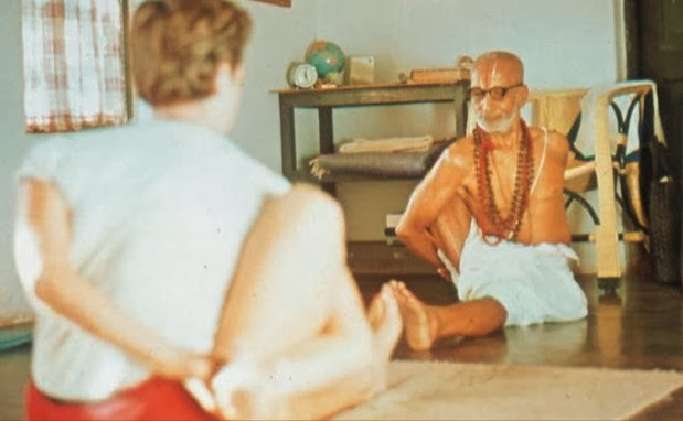 Krishnamacharya teaching Yvonne Millerand from A Yoga of a yogi