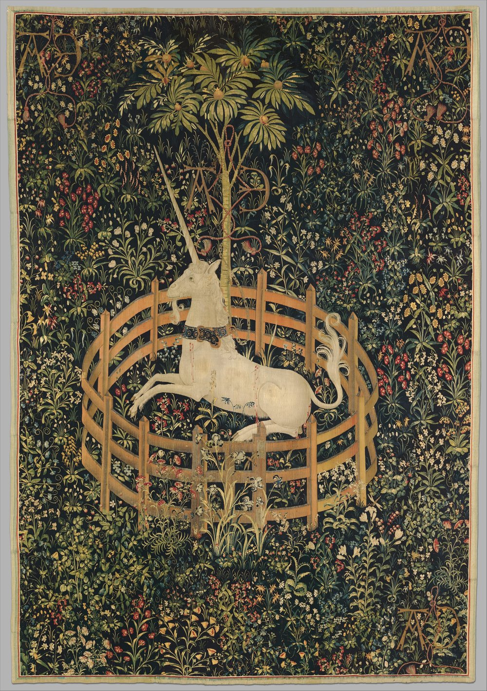 Looking for your Unicorn? - The Unicorn in Captivity (from the Unicorn Tapestries)1495–1505Culture: South NetherlandishMedium: Wool warp with wool, silk, silver, and gilt weftsGift of John D. Rockefeller Jr., 1937On view at The Met Cloisters in Gallery 17The seven individual hangings known as